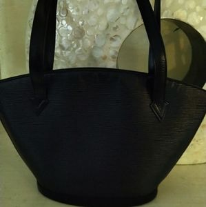 LOUIS  VUITTON BLACK EPI SAINT JACQUES PM BAG